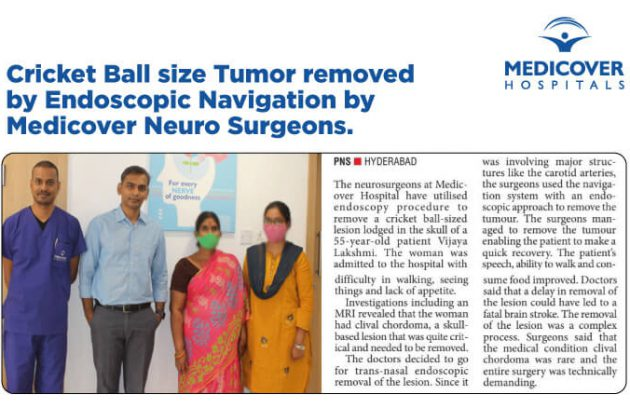 Cricket-Ball-size-Tumor-removed-by-Endoscopic-Navigation-by-Medicover-Neuro-Surgeon