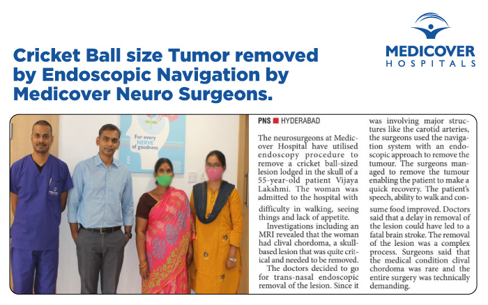 Cricket Ball size Tumor removed by Endoscopic Navigation by Medicover Neuro Surgeon